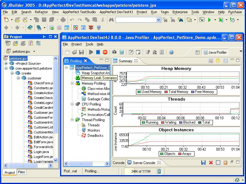 JBuilder X Plugin - Java/J2EE Memory/Thread/Performance Profiler