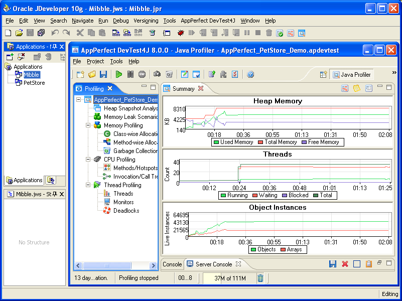 AppPerfect Java Profiler running inside JDeveloper