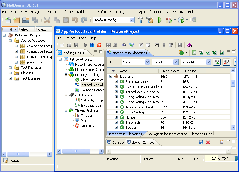 AppPerfect Java Profiler running inside Netbeans