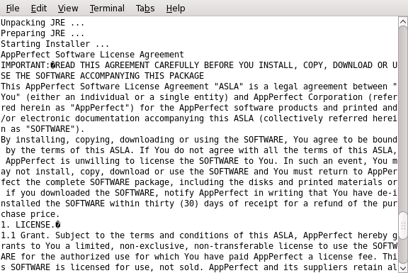 AppPerfect Software license agreement