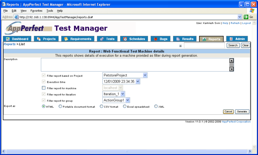 Test Manager filter reports view