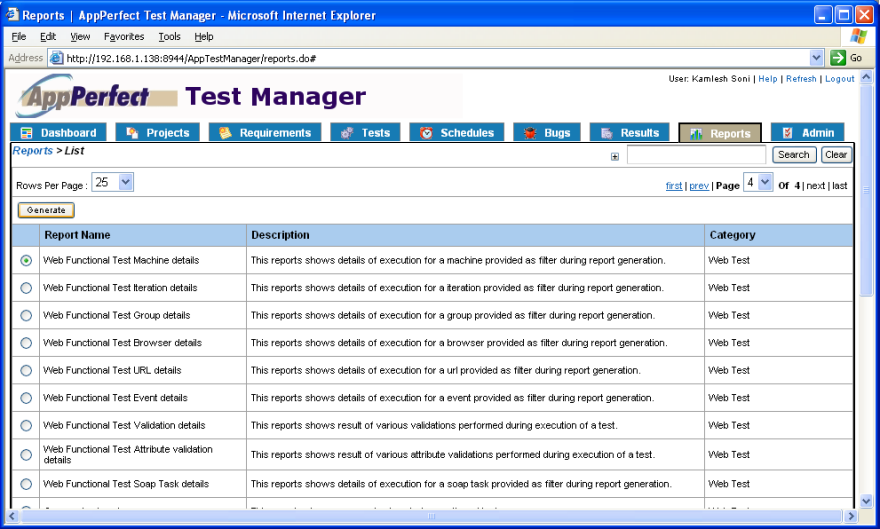 Test Manager reports view