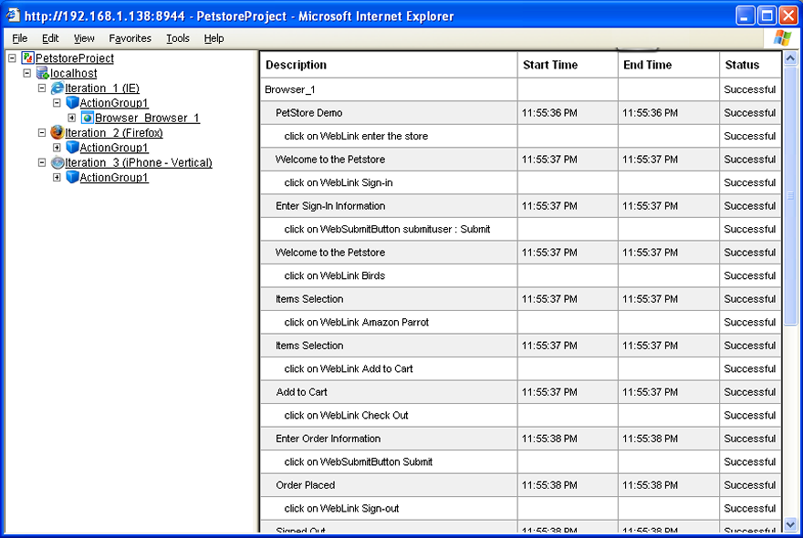 Test Manager, result details view