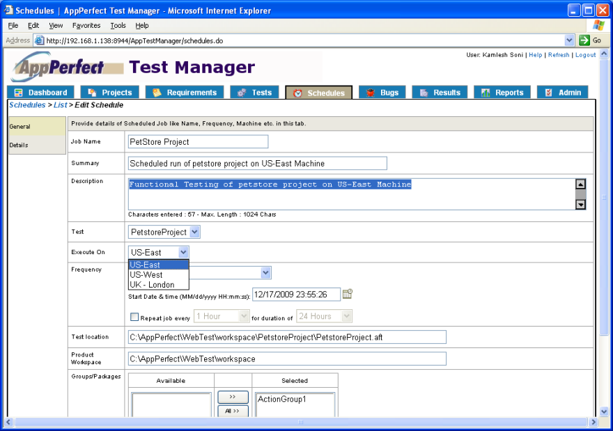 Cloud Testing : Test Manager, schedules view