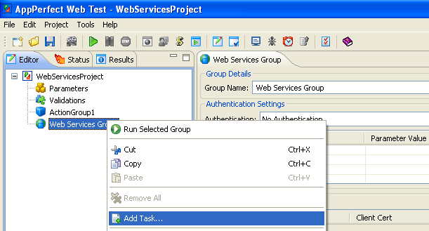 Web Services Functional Testing : Add Task Option